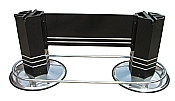 Chrome Footrails Base Pedestal Legs Black Hexagon Table