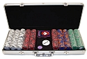 500 Chip Tri-Color Triple Crown Set w/Aluminum Case