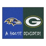 NFL - Baltimore Ravens - Green Bay Packers House Divided Rugs 33.75