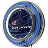 NHL Chrome Double Rung Neon Clock - Watermark - Columbus Blue Jackets