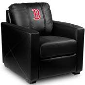 Boston Red Sox MLB Silver Chair with Secondary Logo Panel