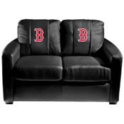 Boston Red Sox MLB Silver Love Seat with Secondary Logo Panel