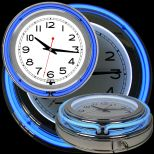 14 Inch Double Ring Neon Clock Blue Outer White Inner
