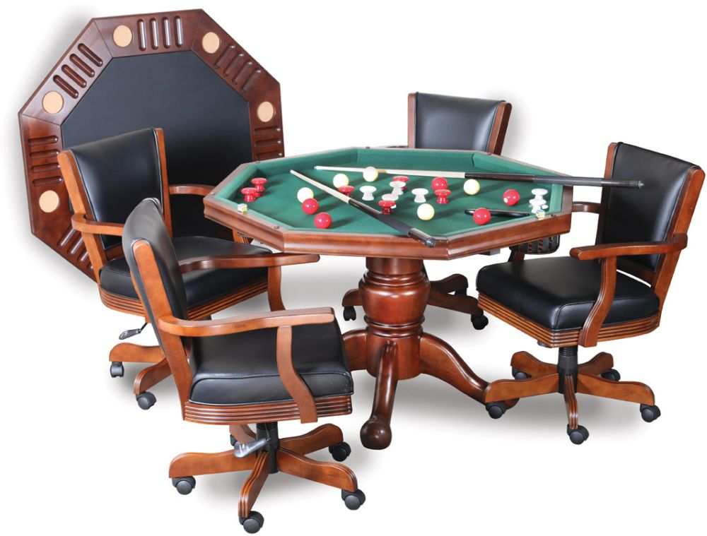Bumper table poker pool table 3 in 1 octagon table 48 antique walnut finish ebay - Bumper pool bumpers ...