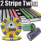 2 Stripe Twist 8 G - Aluminum Case 1000 Ct Poker Chips Sets Poker