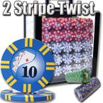 2 Stripe Twist 8 G - Acrylic Case 1000 Ct Poker Chips Sets Poker