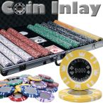 Aluminum Case Standard Coin Inlay 1000 Ct Poker Chips Sets Poker