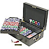 500 pc LUCKY CROWN 11.5g Poker Chip Set w/Mahogany Case