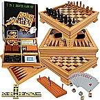 Deluxe 7-in-1 Inlaid Playing Surface Game Set Chess Backgammon etc