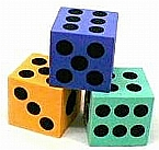 Hard Foam Dice Various Colors 2.5 inches - Sold Individually