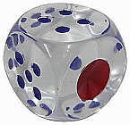 Crystal Clear Dice - 1 inch Blue and Red spots