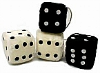 3 Inch Pair Fuzzy Car Poker Dice - Various Colors