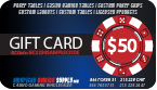 $50 Customized Poker Chip Labels gift card, gift certificate