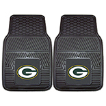 Green Bay Packers Heavy Duty 2-Piece Vinyl Car Mats Molded Longevity 18