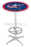 Columbus Blue Jackets Pub Poker Table with Chrome Plated Base L216