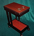 Wooden Drink Cart with Cut Outs for Cup Holders Poker Table