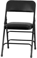 Black Vinyl Upholstered Padded Folding Chair ha-mc309av-bk-gg mc309av