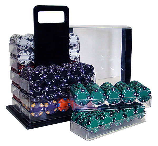 1000 14g Tri Color Ace King Clay Poker Chips W Acrylic Carrier
