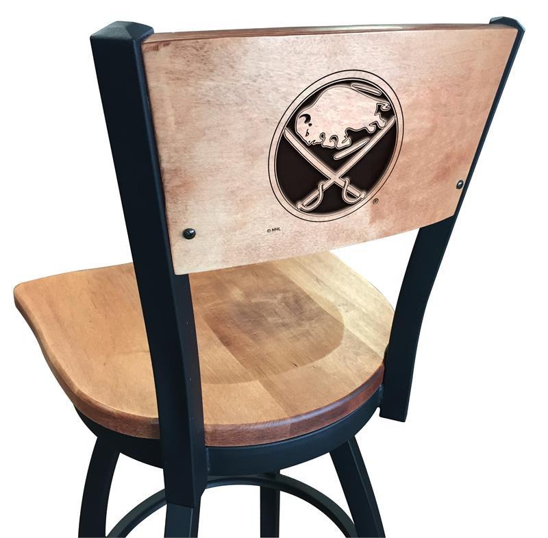 L038-25 Black Wrinkle Buffalo Sabres Swivel Bar Stool with Laser Engraved Back by The Holland Bar Stool Co