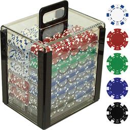 1000 11.5 Gram DICE-STRIPED Poker Chips in Acrylic Carrier