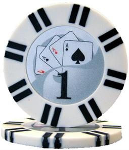 2 Stripe Twist Series 8 gram Poker Chip $1 Sold by the Roll 25 pcs. per Roll