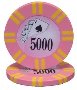 2 Stripe Twist Series 8 gram Poker Chip $5000 Sold by the Roll 25 pcs. per Roll