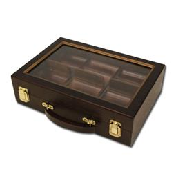300 Ct Walnut Wooden Case w/ See Through Lid