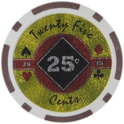 Black Diamond Series Poker Chips 14 Gram - $0.25 Sold by the Roll 25 pcs per Roll
