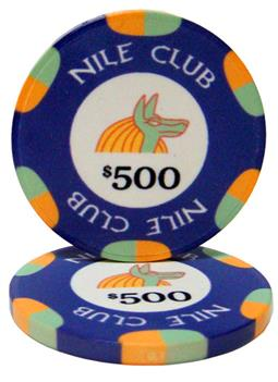 $500 Nile Club 10 Gram Ceramic Poker Chip Sold by the Roll 25 pcs. per Roll