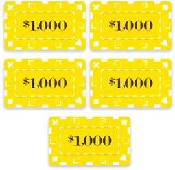 5 Denominated Poker Plaques Yellow $1000