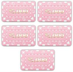 5 Denominated Poker Plaques Pink $5000