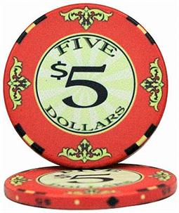 $5 Scroll 10 Gram Ceramic Poker Chip Sold by the Roll 25 pcs. per Roll