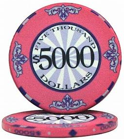 $5000 Scroll 10 Gram Ceramic Poker Chip Sold by the Roll 25 pcs. per Roll