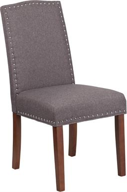 Gray Fabric Parsons Chair with Silver Nail Heads