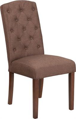 Brown Fabric Tufted Parsons Style Poker Chair