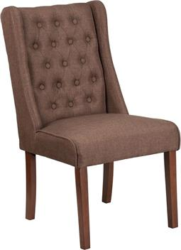 Brown Fabric Tufted Parsons Wide Poker Chair