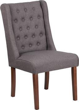 Gray Fabric Tufted Parsons Wide Poker Chair