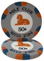 $.50 Nile Club 10 Gram Ceramic Poker Chip Sold by the Roll 25 pcs. per Roll
