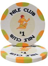 $1 Nile Club 10 Gram Ceramic Poker Chip Sold by the Roll 25 pcs. per Roll