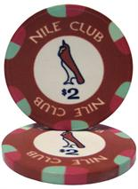 $2 Nile Club 10 Gram Ceramic Poker Chip Sold by the Roll 25 pcs. per Roll