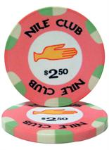 $2.50 Nile Club 10 Gram Ceramic Poker Chip Sold by the Roll 25 pcs. per Roll