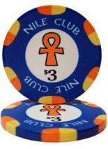 $3 Nile Club 10 Gram Ceramic Poker Chip Sold by the Roll 25 pcs. per Roll