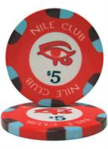 $5 Nile Club 10 Gram Ceramic Poker Chip Sold by the Roll 25 pcs. per Roll