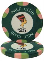 $25 Nile Club 10 Gram Ceramic Poker Chip Sold by the Roll 25 pcs. per Roll