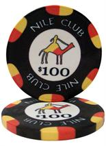 $100 Nile Club 10 Gram Ceramic Poker Chip Sold by the Roll 25 pcs. per Roll