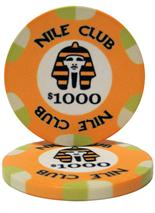 $1,000 Nile Club 10 Gram Ceramic Poker Chip Sold by the Roll 25 pcs. per Roll