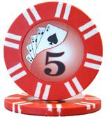 2 Stripe Twist Series 8 gram Poker Chip $5 Sold by the Roll 25 pcs. per Roll