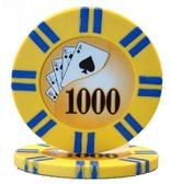 2 Stripe Twist Series 8 gram Poker Chip $1000 Sold by the Roll 25 pcs. per Roll