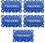 5 Denominated Poker Plaques Blue $10000