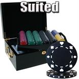 500 pc Suited 11.5g Blank Poker Chip Set in Black Mahogany Case